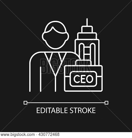 Chief Executive White Linear Icon For Dark Theme. Ceo Of Corporation. Chief Executive Officer. Thin