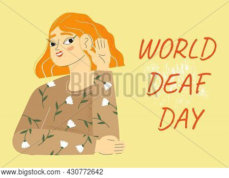 World Deaf Day In Last Sunday Of September Concept. Rally, Seminar And Various Deaf Awareness Campai