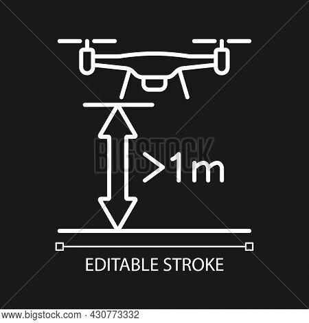 Minimum Flight Height White Linear Manual Label Icon For Dark Theme. Thin Line Customizable Illustra