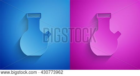 Paper Cut Test Tube And Flask Chemical Laboratory Test Icon Isolated On Blue And Purple Background.