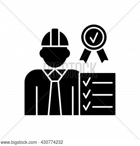 Quality Control Manager Black Glyph Icon. Production Inspector. Requirements And Standards. High Qua