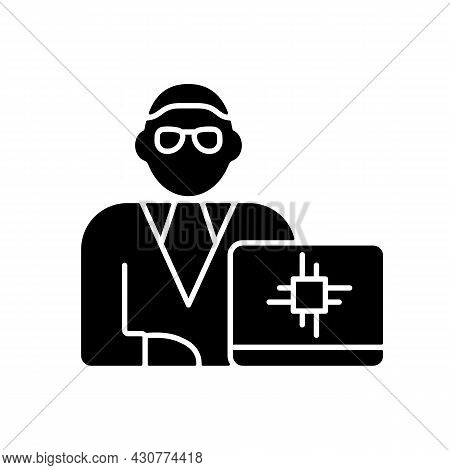 Chief Technology Officer Black Glyph Icon. Scientific And Technological Occupation. Leader Executive