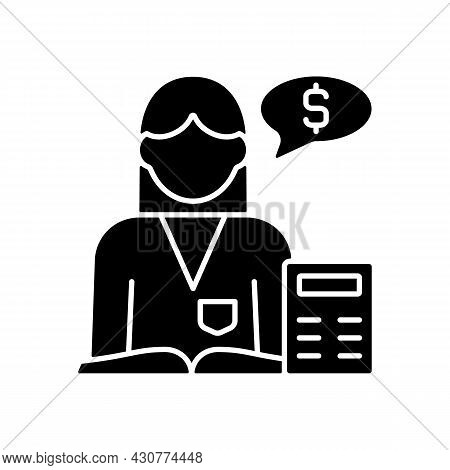 Accountant Black Glyph Icon. Financial Records. Accountitng And Analysis. Finance And Budget Managem