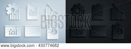 Set Chalkboard, Pie Chart Infographic And Coin, Board With, Clipboard, And Icon. Vector
