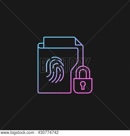 Sensitive Information Protection Gradient Vector Icon For Dark Theme. Cybersecurity Measure. Data Br