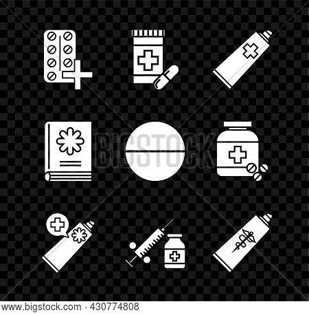 Set Pills In Blister Pack, Medicine Bottle And Pills, Ointment Cream Tube Medicine, Medical Syringe