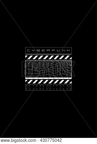 Cyberpunk T-shirt And Apparel Design With Distorted Wavy Grid And Cyberpunk Design Elements. Black A