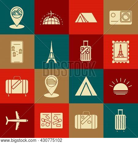 Set Suitcase For Travel, Sunset, Postal Stamp And Eiffel Tower, Tourist Tent, Infographic Of City Ma