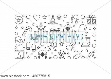Happy New Year Vector Linear Illustration - Holiday Banner