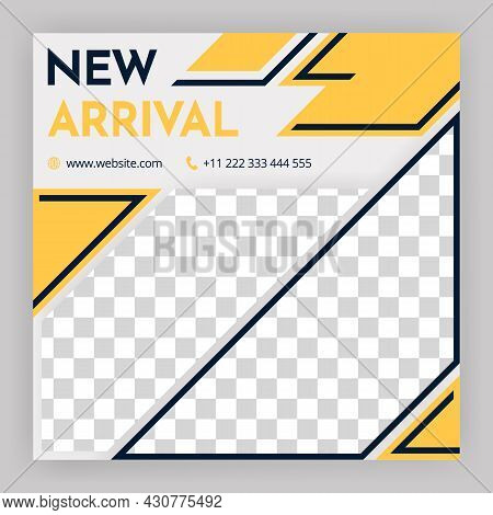 Social Media Post And Internet Ads. Social Media Post Templates. White Background With Geometric Ele