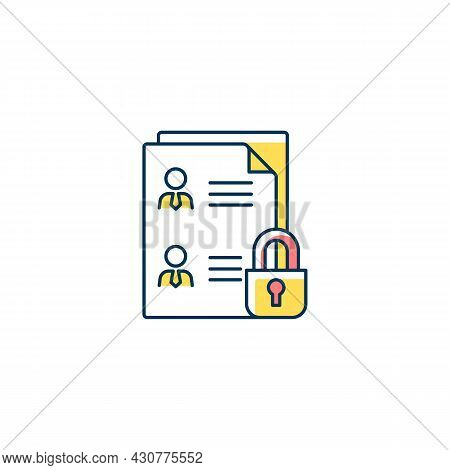 Employee Data Protection Rgb Color Icon. Safeguarding Personal Data In Workplace. Managing Personnel