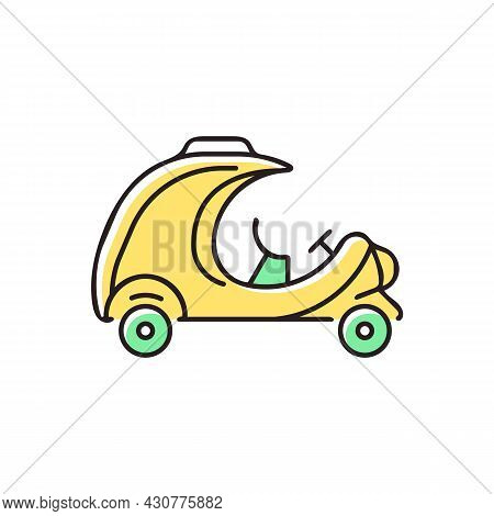 Coco Taxi Rgb Color Icon. Rickshaw-type Vehicle. Back Seat For Two People. Transporting Tourists. Ye