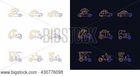 Taxicab Types Gradient Icons Set For Dark And Light Mode. Personal Driver. London Cab. Rickshaw. Thi