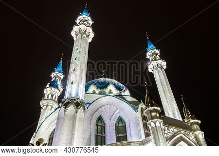 Minarets Of Kul Sharif Mosque Is Directing To The Dark Night. Building Is Illuminated By Artificial