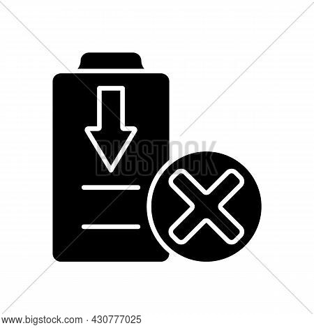 Dont Fully Drain Batteries Black Glyph Manual Label Icon. Maintain Drone Battery Health. Damage Risk