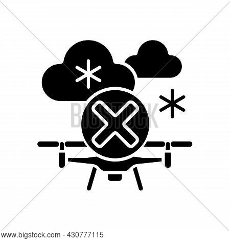 Dont Fly When Heavy Snow Black Glyph Manual Label Icon. Flying Drone Under Snowfall. Ice Accumulatio