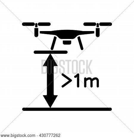 Minimum Flight Height Black Glyph Manual Label Icon. Minimal Drone Altitude. Prevent Collisions. Sil