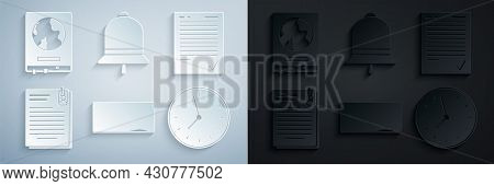 Set Chalkboard, Exam Sheet With Check Mark, File Document And Paper Clip, Clock, Ringing Bell And Wo