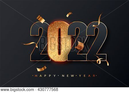 2022 New Year Sign. Black Numbers 2022 With Golden Glitter Numbers On Black Background. Vector Luxur