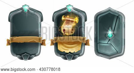 Game Card Fantasy Design Set, Vector Magic User Interface Background, Medieval Stone Frame Kit. Adve