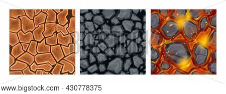 Game Ground Seamless Pattern Set, Nature Earth Top View Texture, Environment Repeat Landscape Tile.