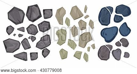 Stone Vector Illustration Set, Rock Cartoon Top View Icon, Gray Rubble, Cracked Boulder Clipart On W