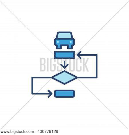 Autonomous Vehicle Algorithm Vector Blue Modern Icon