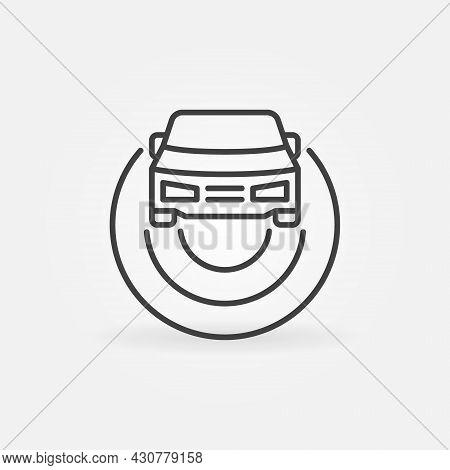 Car Autopilot Outline Icon. Autonomous Vehicle Av Vector Sign
