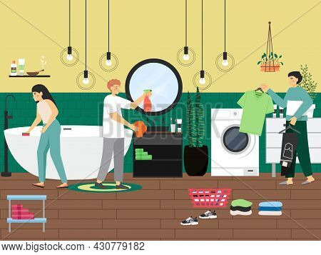 Home Cleaning Scene, Flat Vector Illustration. People Cleaning Bathroom, Washing Clothes. Housekeepi