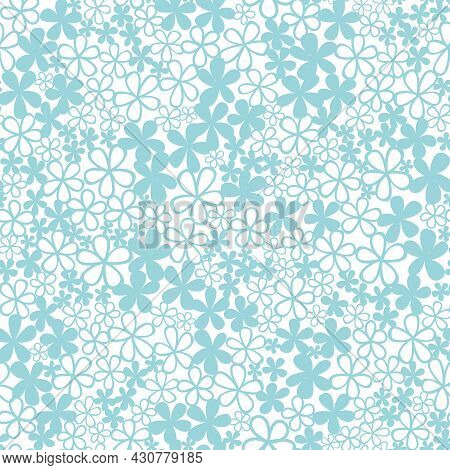 Vector Light Blue Allover Emmas Flowers Seamless Pattern Background