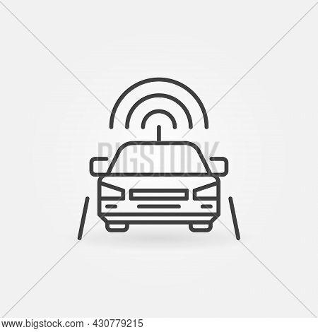 Autonomous Robotic Car On Highway Linear Vector Concept Icon