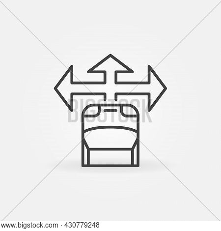 Car With Arrow Vector Line Icon. Driverless Car Symbol