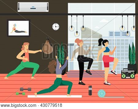 Fitness Gym. Young Women Doing Tae Bo Aerobics, Stretching Exercises, Flat Vector Illustration.