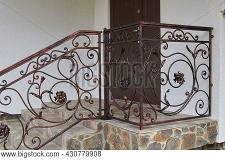 Modern Metal Wrought Iron Railing Entrance To The House