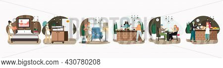 Hotel Set, Flat Vector Isolated Illustration. Hotel Room Cleaning And Food Service. Hospitality Indu
