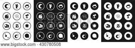 Set Astronaut Helmet, Black Hole, Astronomical Observatory, Moon And Stars, Telescope, Vulcan Salute