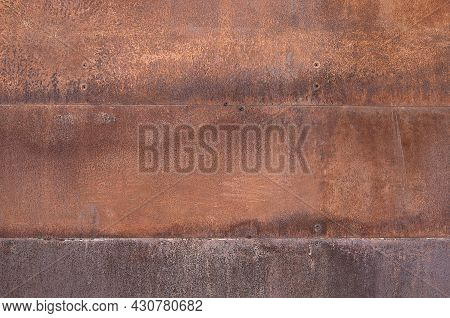 Rust Metal Texture Background. Grunge Metal With Rivets Background.