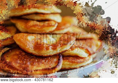 A Stack Of Fried Fritters On A Plate. Traditional Homemade Food. Crepes. Digital Watercolor Painting