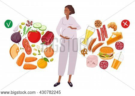 Diet Choice During Pregnancy. Healthy Food And Junk Food. Food For Pregnant Woman. Pregnant Woman Ch