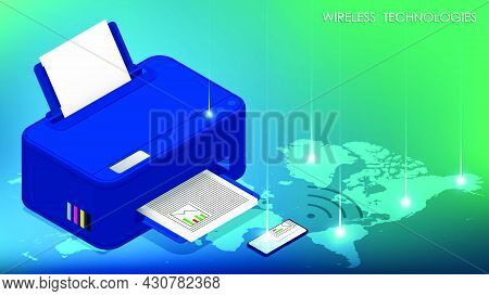 Wireless Technology Concept. Smartphone Sends Document To Printer For Printing Using Wireless Networ