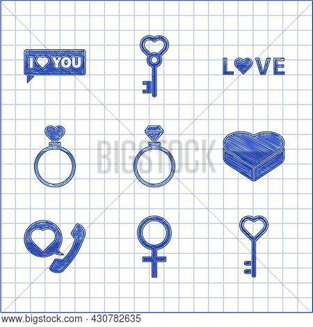 Set Wedding Rings, Female Gender Symbol, Key Heart Shape, Candy Shaped Box, Telephone With Speech Bu