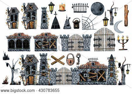 Vintage Old Castle Set Of Elements For Halloween Holiday Scene Design. Hand Drawn Watercolor Illustr