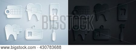 Set Id Card With Tooth, Online Dental Care, Dental Clinic For, Toothbrush, Teeth Braces And Dentures