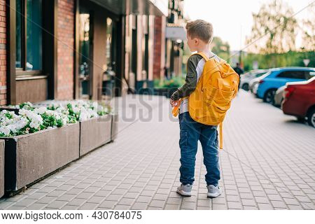 Back To School. Cute Child With Backpack Going To School. Boy Pupil With Bag. Elementary School Stud