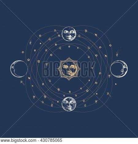 Heavenly Sphere Illustration. Sun, Moon In Vector.