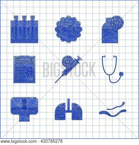 Set Syringe And Virus, Virus Cells Lung, Ebola Disease, Stethoscope, Dna Spiral Computer, Clipboard