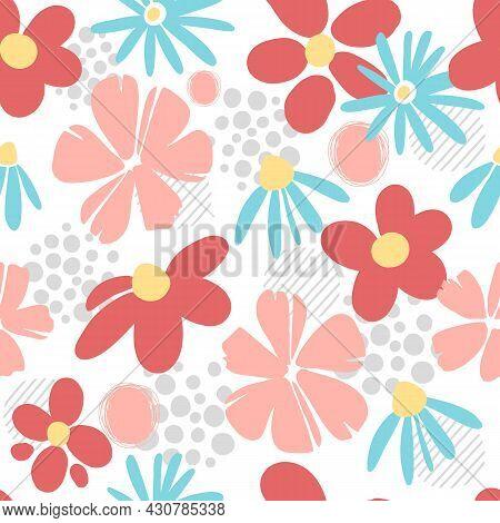 Garden Flower, Plants , Botanical , Seamless Pattern Vector Design For Fashion, Fabric, Wallpaper An