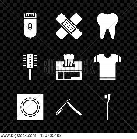 Set Electrical Hair Clipper Or Shaver, Crossed Bandage Plaster, Tooth, Condom In Package Safe Sex, S