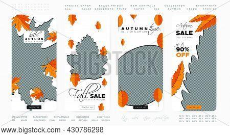 Autumn Discount Wallpapers. Orange Foliage Fall Frame. Season Leaf Backgrounds. Vector Set Of Autumn