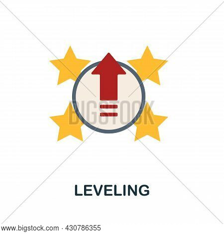 Leveling Flat Icon. Simple Sign From Gamification Collection. Creative Leveling Icon Illustration Fo